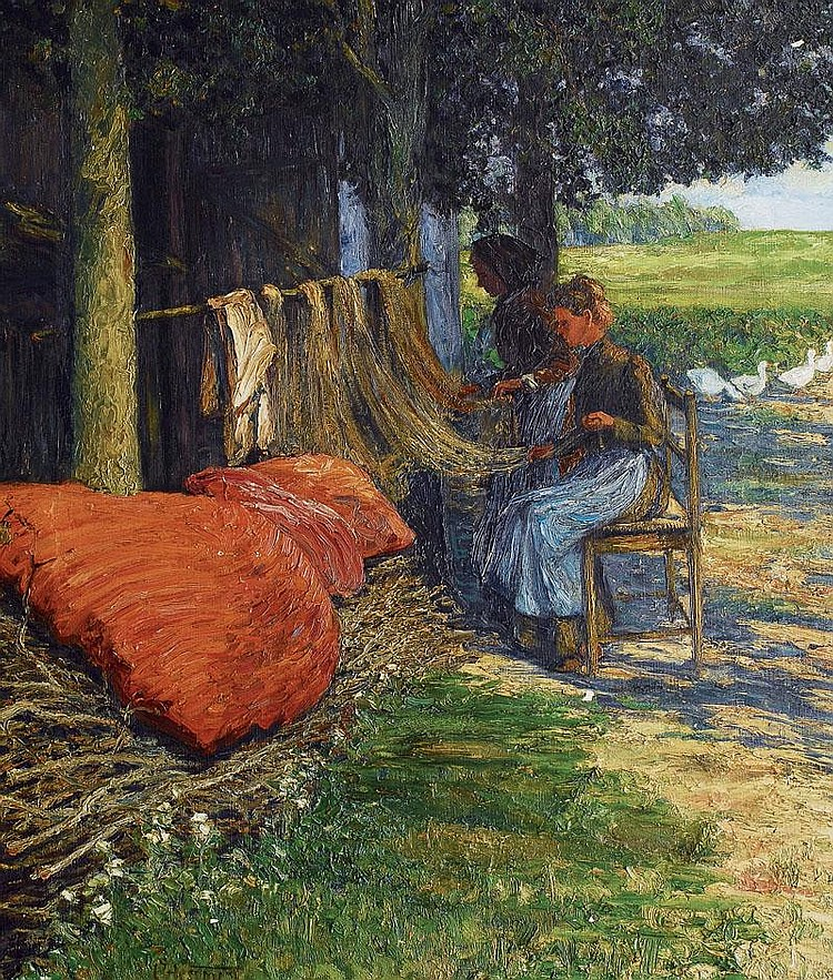 Hessmert Carl 1869 - 1928 Mending the nets