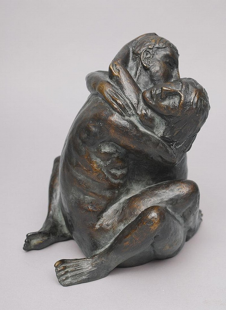 Edelmann Hanno 1923 A bronze figure 'Lovers'