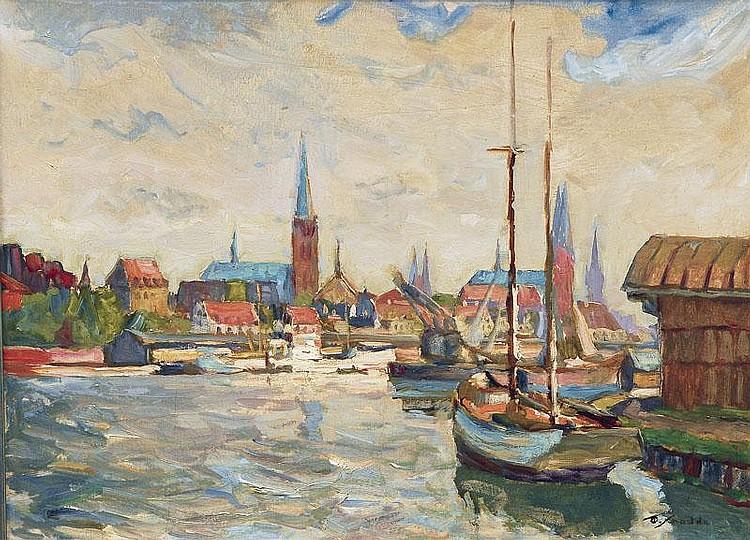 Schodde Wilhelm 1883 - 1951 Lübeck Harbour