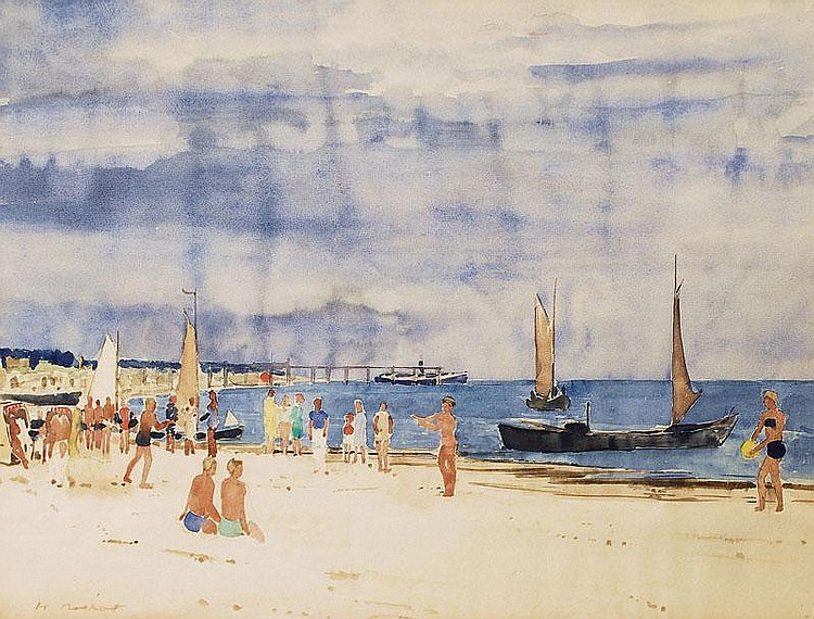 Notthoff Hugo Krefeld 1885 Leipzig 1953 Beach at