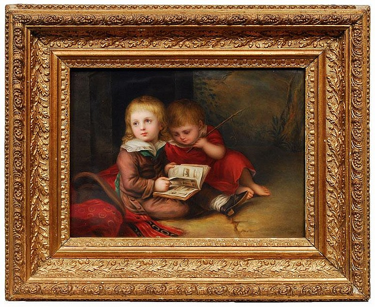 A porcelain plaque of 'The artist's sons' after