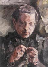 Waldemar Rösler (Striesen/Dresden 1882 - Arys/Ostpreußen 1916). Knitting Woman.