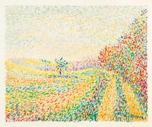 Moritz Melzer (Albendorf 1877 - Berlin 1966). Pointillist Landscape.