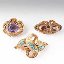 Three Biedermeier brooches with amethyst, tourmaline and turquoise