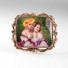 A Biedermeier brooch with porcelain miniature