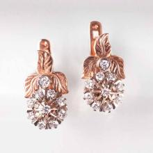 A pair of russian diamond earrings