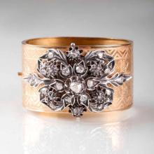 A Fin-de-Siècle bangle bracelet with diamonds