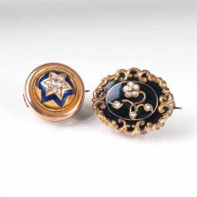Two antique brooches with diamonds and seed pearls