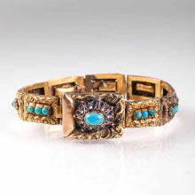 A Belle Epoque bracelet with turquoise and enamel ornaments