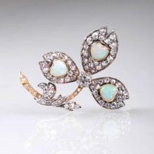 An Art Nouveau diamond brooch with opal