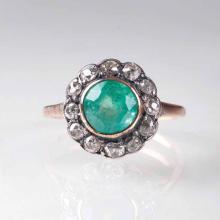 A Vintage emerald diamond ring