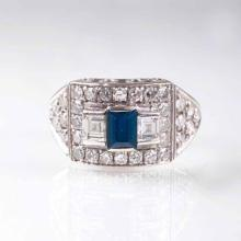 An Art Déco sapphire diamond ring