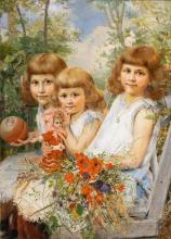 Arthur Kurtz (St. Gallen/Steiermark 1860 - Baden/Wien 1917). Three Children in the Garden.