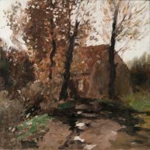 Thomas Herbst (Hamburg 1848 - Hamburg 1915). Farm House under Trees.