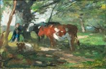 Thomas Herbst (Hamburg 1848 - Hamburg 1915). Cows and Boy.