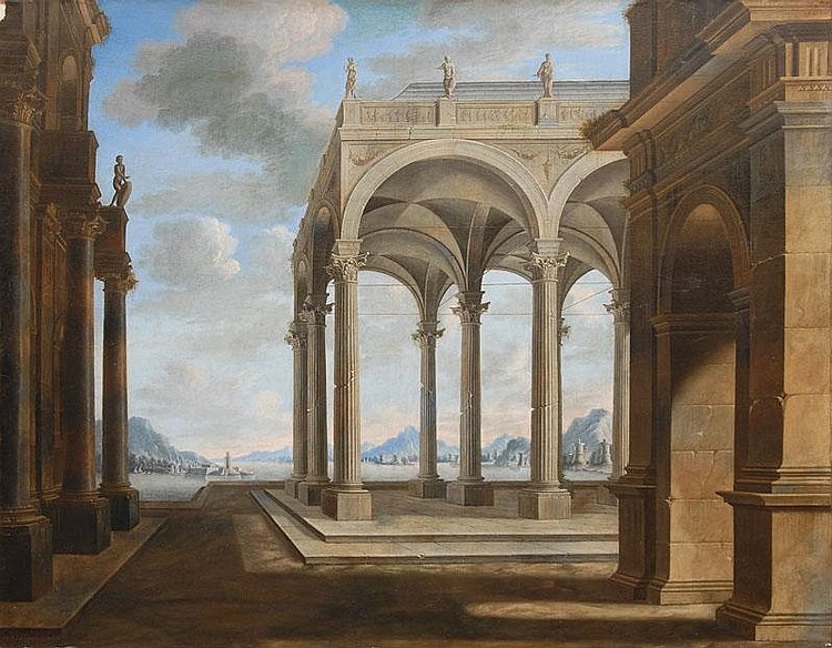 Architectural Capriccio in idealised Landscape