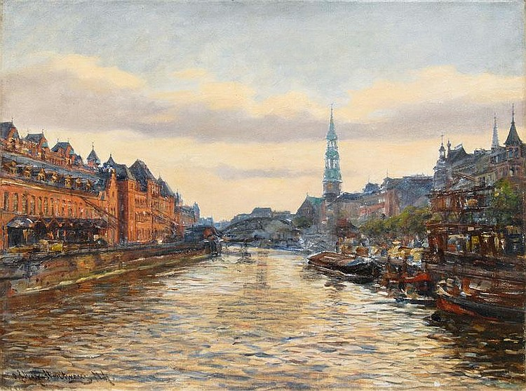 Speicherstadt with the Tower of St. Catherine's Church