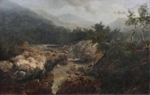 German landscape painter  active mid 19 cent. <br>River in the Mountains