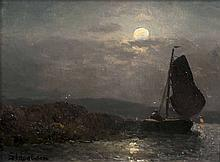 Sophus, Jacobsen  Frederikshald/Norwegen 1833 - Düsseldorf 1912  <br>Boat under Full Moon