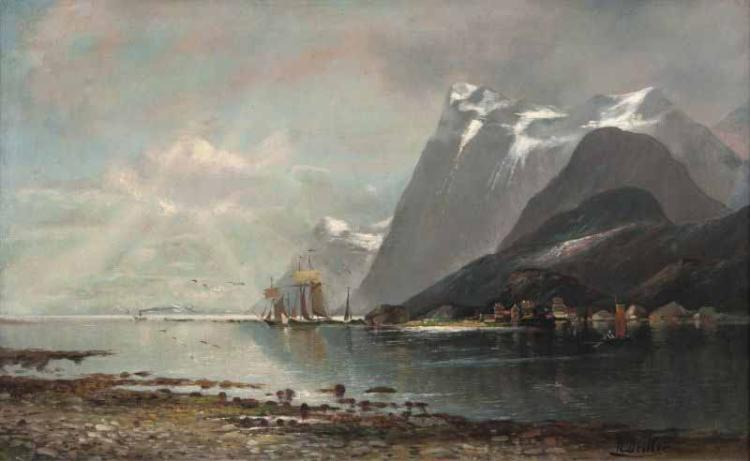 Rudolf, Becker  Hamburg 1856 - nach 1891  <br>Ships in a Ford