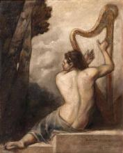 A., Bloch  active probably in Munich around 1900 <br>Young Man with Harp