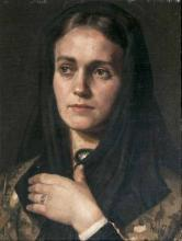Painter of the Leibl circle  active probably Munich 2nd half 19th cent. <br>Portrait of a Young Lady with Scarf