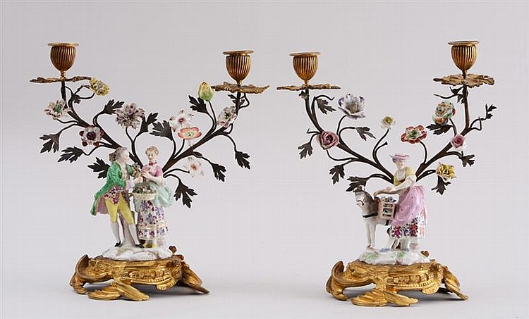 PAIR OF LOUIS XV STYLE ORMOLU-MOUNTED PORCELAIN FIGURAL TWO-LIGHT CANDELABRA