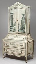 Italian Rococo Style Painted Bureau Bookcase, Late 19th Century