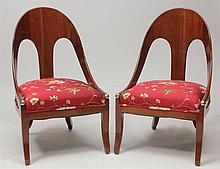 Pair of Regency Style Mahogany and Parcel-Gilt Klismos Chairs, 20th Century