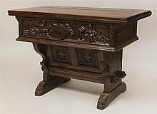 Gothic Style Carved Oak Swivel Folding Top Table
