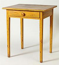 Yellow Painted Single-Drawer Side Table