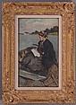AMERICAN SCHOOL: PORTRAIT OF A WOMAN IN A BOAT