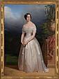 CLAUDE-MARIE DUBUFE (1790-1864): FULL LENGTH PORTRAIT OF EMPRESS EUGENIE DE MONTIJO, WIFE OF NAPOLEON III