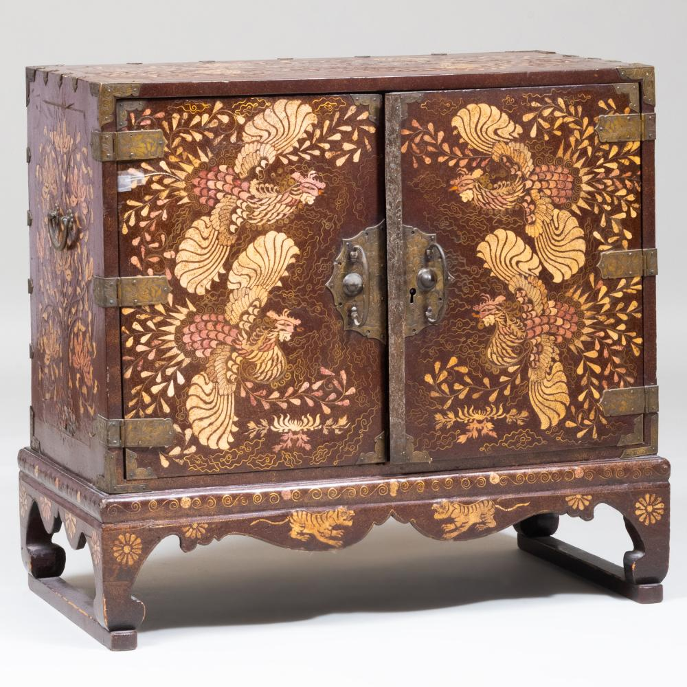 Korean Lacquered Shagreen and Mother-of-Pearl Inlaid Brass-Mounted Chest