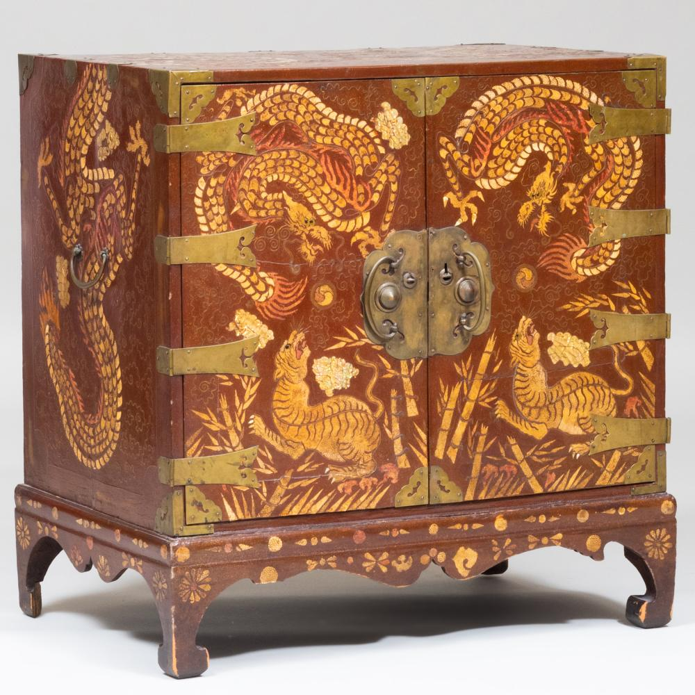 Korean Lacquered Shagreen, Gilt, Wirework, and Mother-of-Pearl Inlaid Brass-Mounted Chest