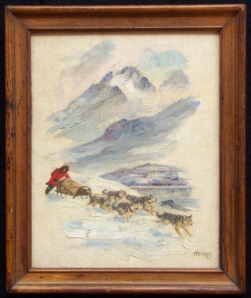 ELLEN HENNE GOODALE (1915-1991), SLED TEAM Oil on artistboar