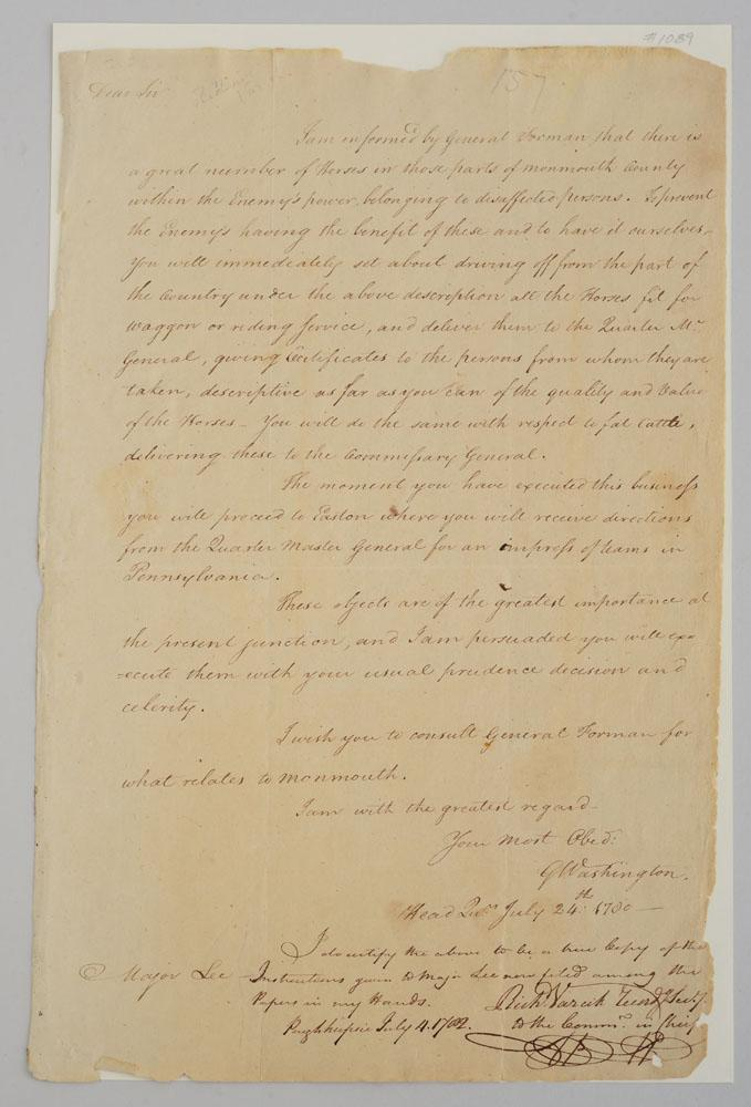 George Washington A Letter Copied By Richard Varrick And Tw
