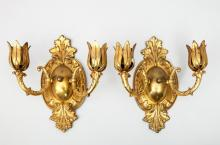 Pair of Napoleon III Style Gilt-Metal Two-Light Wall Sconces