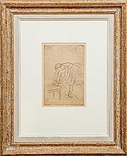 Edgar Degas (1834-1917): Danseuse mettant son chausson