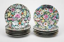 Set of Twelve Chinese Porcelain Millefiori Plates