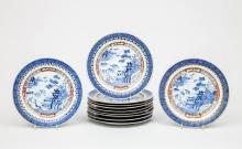 Set of Eleven Chinese Blue and White Porcelain Lunch Plates, in the Blue Willow Pattern