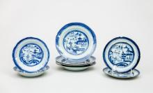 Group of Eight Chinese Export Blue and White Porcelain Plates