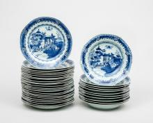 Assembled Set of Twenty-Four Chinese Blue and White Porcelain Dinner Plates and Eleven Soup Bowls
