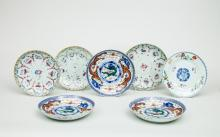 Set of Three Green Dragon Porcelain Plates and Four Famille Rose Porcelain Plates