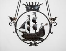 Wrought-Iron Galleon-Form Two-Light Chandelier