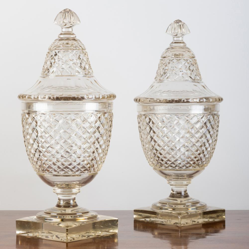 Pair of Large George III Style Cut Glass Urns and Covers