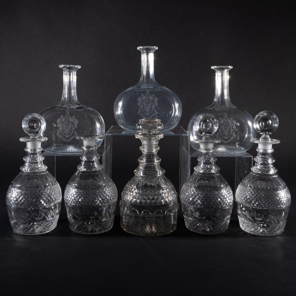 Group of Eight Cut Glass Decanters and Five Stoppers