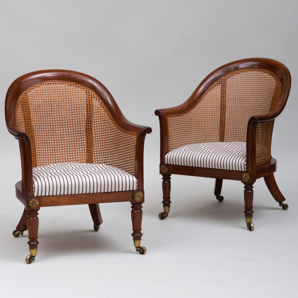 Pair of George IV Gilt-Metal-Mounted Mahogany and Caned Tub Chairs