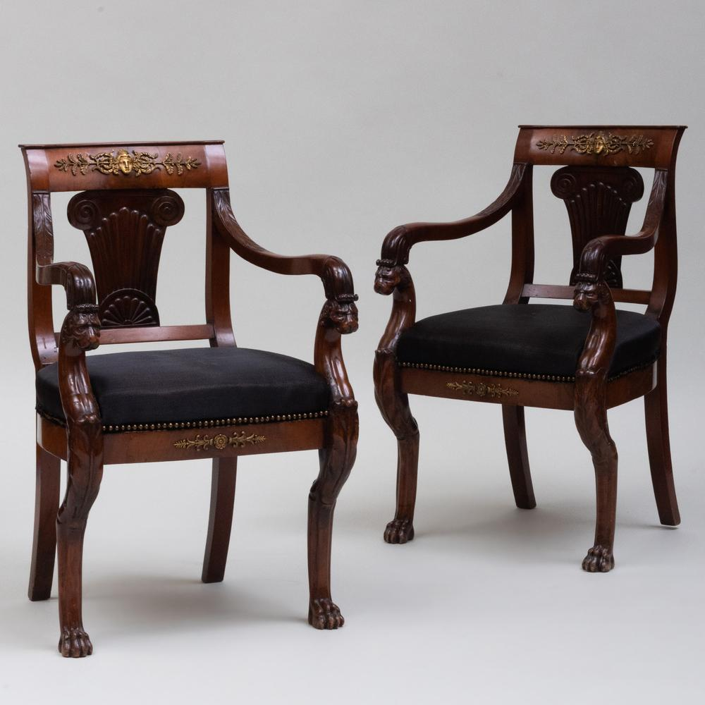 Pair of Fine Regency Gilt-Metal-Mounted Mahogany Armchairs, Possibly Continental