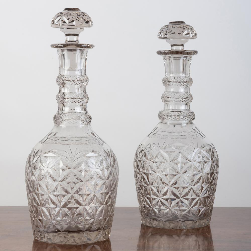 Pair of Large Cut Glass Decanters and Stoppers, Probably English